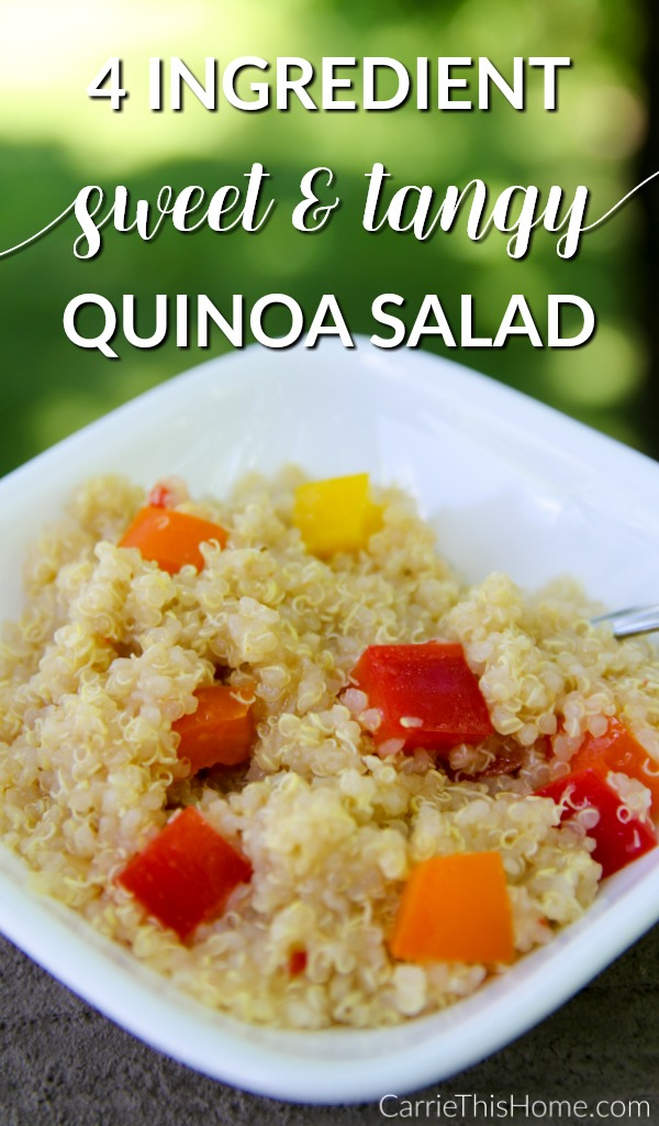 So easy and tasty! This 4 ingredient sweet and tangy quinoa salad will be your next summer side item!