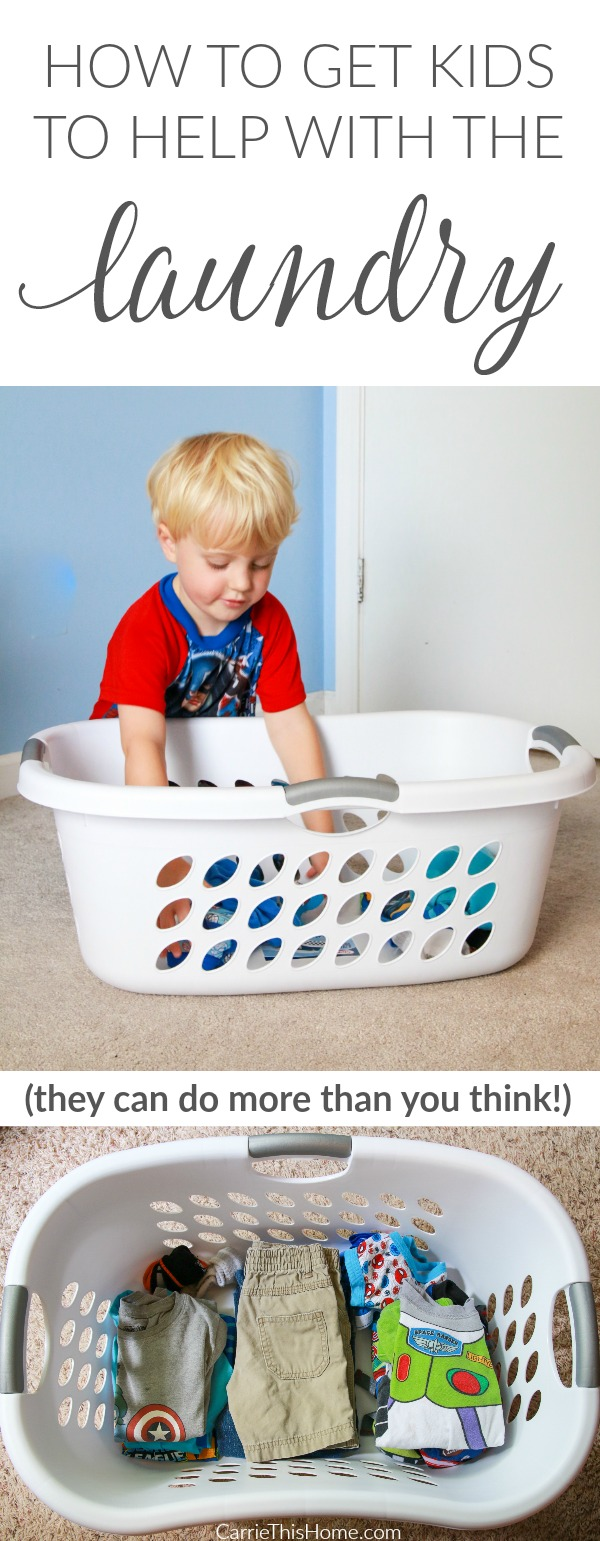 Easy to do tips that will take some of the load off how to get kids to help with the laundry from CarrieThisHomecom