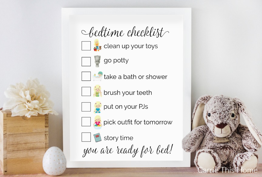 Free bedtime checklist for girls from CarrieThisHome.com