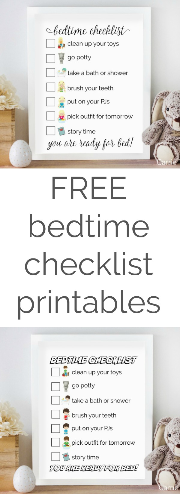 Help get your kids ready for bed without nagging them with these FREE bedtime checklist printables from CarrieThisHome.com