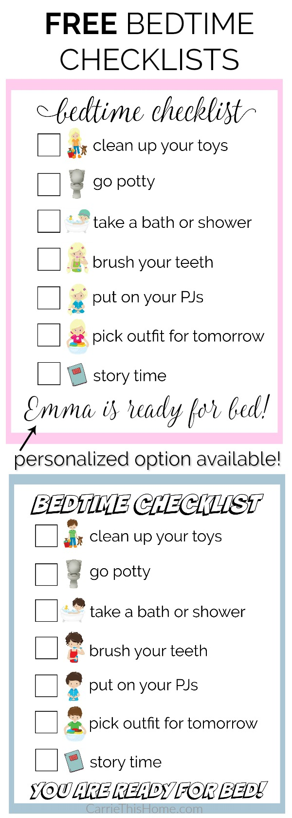 Make bedtime easier for you and your kids with these free bedtime checklists