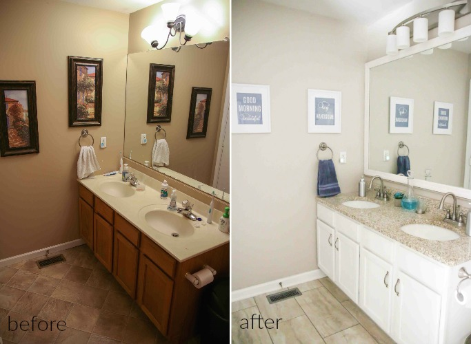 budget modern farmhouse makeover before and after from CarrieThisHome.com